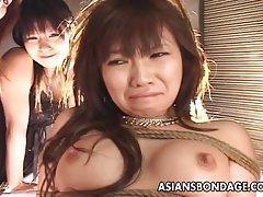 Bundet opp asiatiske babe blir knullet med en maskin